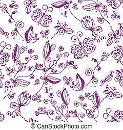 decorativo, grafico, modello, seamless, butteflies, floreale