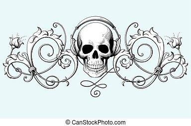 decorativo, gravura, cranio, vindima, fones, ornamento, ...