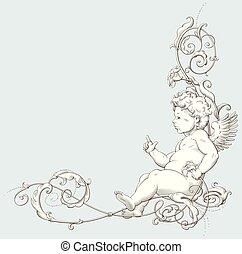 decorativo, gravura, vindima, ornamento, cupid, elemento, ...