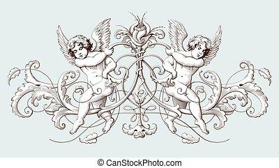 decorativo, gravura, vindima, ornamento, elemento, cupids, ...
