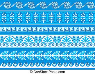 decorativo, grego, fronteiras