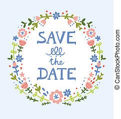 decorativo, grinalda, data, floral, salvar, composição