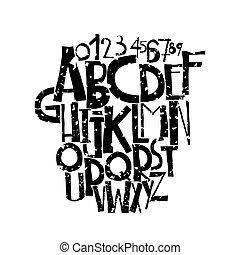 decorativo, grunge, font, lettere, audace