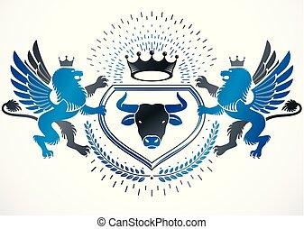 decorativo, gryphon, elementos, emblema, como, creado, ...