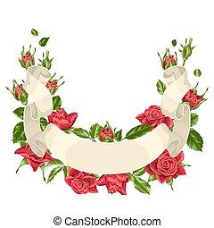 decorativo, hermoso, hojas, flores, realista, roses., cinta ...