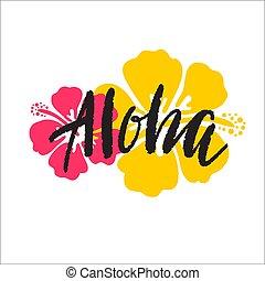 decorativo, hibisco, folhas, ornamento, ilustração, palma, borda, print.