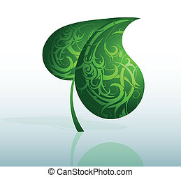 decorativo, hoja verde