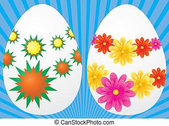decorativo, huevos de pascua, en, fondo azul, vector,...