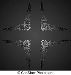 decorativo, illustration., banner., vindima, vetorial, ornate
