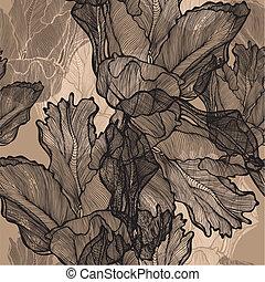 decorativo, illustration., tulipanes, patrón, seamless, vector, hand-drawing.