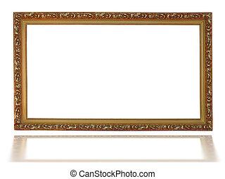 decorativo, immagine, oro, modello, cornice, vuoto