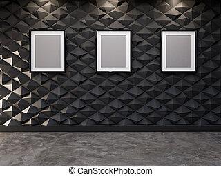 decorativo, immagine, parete, astratto, interpretazione, fondo, vuoto, cornice, 3d