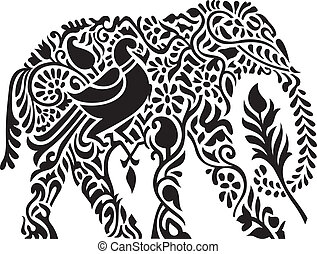 decorativo, indianas, elefante