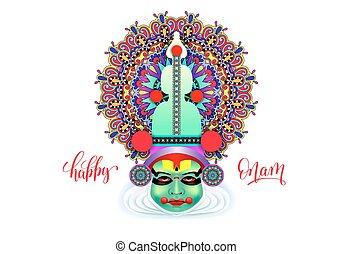 decorativo, indio, bailarín, moderno, cara, vector,...