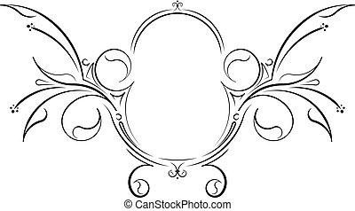 decorativo, insolito, frame., floreale, vettore, nero, ovale