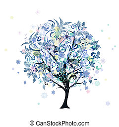 decorativo, inverno albero