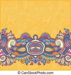 decorativo, invita, cachemira, amarillo, diseño, plano de fondo, floral