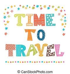 decorativo, iscrizione, elementi, quote., travel., mano, inspirational, tempo, disegnato