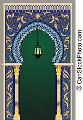 decorativo, islamic, arco, lanterna