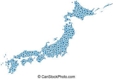 decorativo, japão, mapa