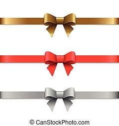 decorativo, jogo, illustration., vetorial, ouro, arcos, ribbons., silver., vermelho