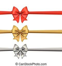decorativo, jogo, ilustração, ouro, arcos, vetorial, ribbons., silver., vermelho