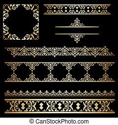 decorativo, jogo, ouro, vindima, -, vetorial, ornamentos