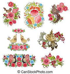 decorativo, jogo, pássaros, desenho, flores, seu