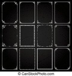 decorativo, jogo, proporções, 5, bordas, fronteiras, retângulo