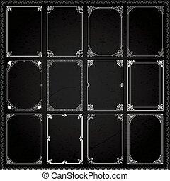 decorativo, jogo, proporções, 6, bordas, fronteiras, retângulo
