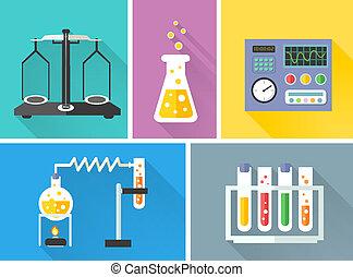 decorativo, laboratório, jogo, equipamento, ícones