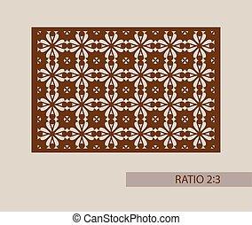 decorativo, laser, patrón, corte, plantilla, panel