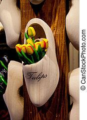 decorativo, legno, tulips