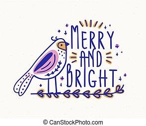 decorativo, letras, alegre, sentado, estacional, deseo, festivo, escrito, ilustración, calligraphic, postcard., brillante, vector, lindo, navidad, font., branch., adornado, feriado, pájaro, manuscrito