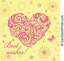 decorativo, lindo, corazón, saludo, floral, tarjeta