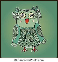 decorativo, lindo, illustration., búho, vector, bird., de encaje