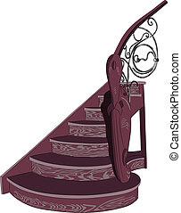 decorativo, madeira, vetorial, escadaria