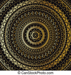 decorativo, mandala., indianas, pattern., ouro
