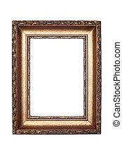 decorativo, marco, blanco, aislado
