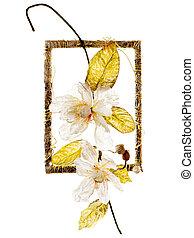 decorativo, marco, con, artificial, flores