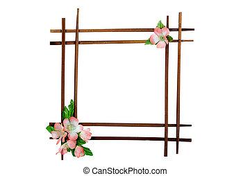 decorativo, marco de madera, con, flores, aislado, blanco, plano de fondo