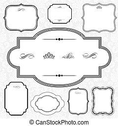 decorativo, marco, vector, conjunto