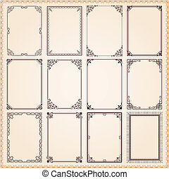 decorativo, marcos, fronteras, conjunto