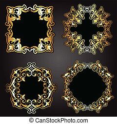 decorativo, marcos, negro, oro