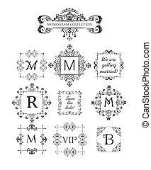 decorativo, marcos, vector, conjunto
