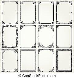 decorativo, marcos, y, fronteras