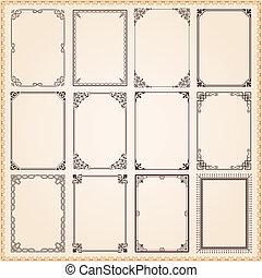 decorativo, marcos, y, fronteras, conjunto