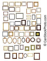 decorativo, marcospara cuadros, oro, patrón