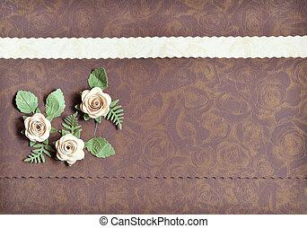 decorativo, marrón, rosa, hojas, papel, tarjetas