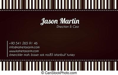 decorativo, marrom, cartão negócio